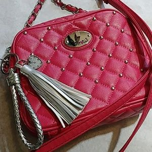 Betseyville Quilted Pink Studded Crossbody Clutch